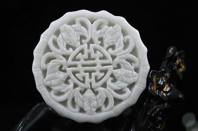 Chinese New natural White jade pendant carved amulet Pendant Necklace