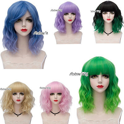 Halloween Short Ombre Fancy Curly Stylish Women Party Cosplay Wig+Wig Cap