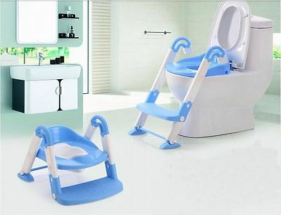 Blue 3-In-1 Baby Potty Training Ladder Toilet Trainer Folding Seat Kids Toddlers