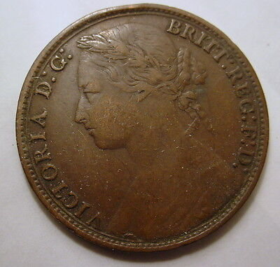 Great Britain GB UK Queen Victoria 1879 One Penny Britt Reg FD Nice coin