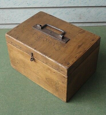 Antique Vintage Small Rustic French Elm Box