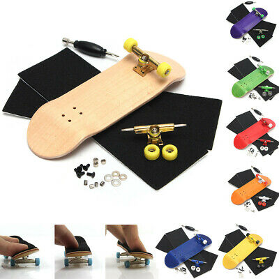 Complete Wooden Wood Fingerboard Maple Wood Finger Skate Board Grit Foam Tape