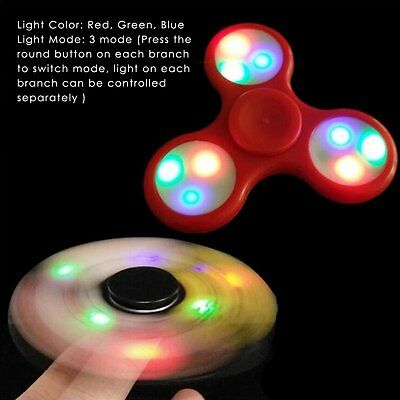 2017 LED Light Up Fidget Hand Tri Finger Spinner Stress Reducer Toys Gyro Gift