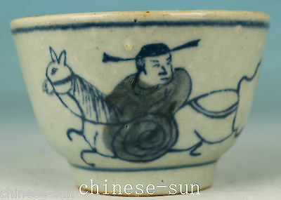Chinese Blue And White Porcelain Handmade Painting Sage Statue Bowl Cup