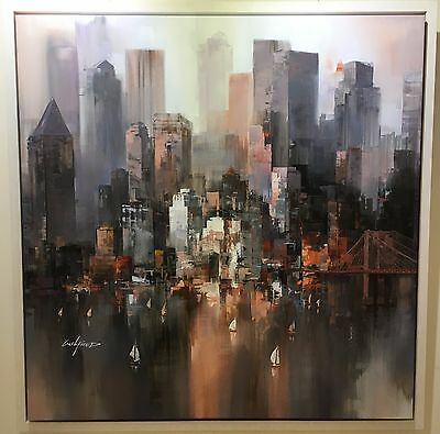 Cityscape I by Wilfred, Original Contemporary on Canvas, Skyline, Reflections