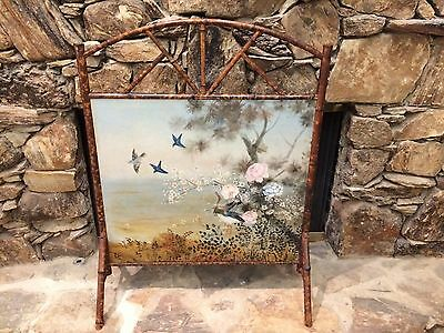 Antique Vintage Victorian Bamboo Firescreen Fireplace Birds Landscape Painting