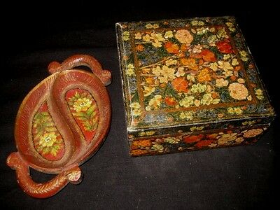 Vintage Handpainted Floral Wooden Tray & Decoupage Wooden Box