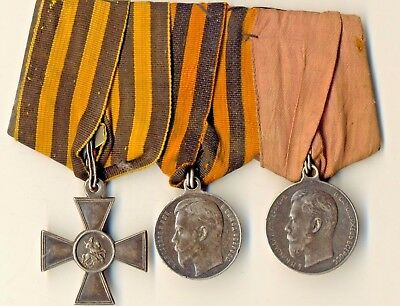 Antique Original Imperial Russian St George Silver Cross 4 and 2 Medals (2284)