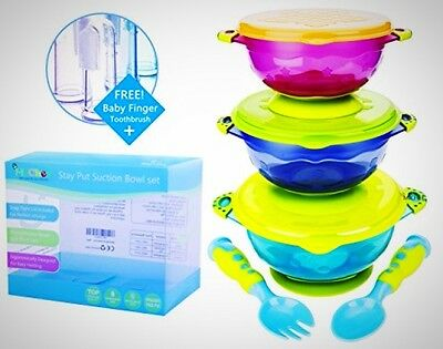 MiChef Stay Put Suction Bowl Spill Proof Baby Bowls Snap Tight Lids Set Product