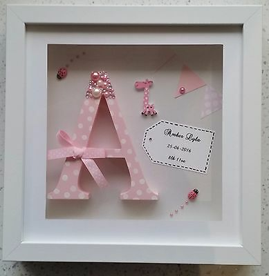 Personalised Box Frame Initial Letter Christening/boy/girl/ Baby