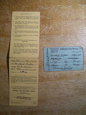 1940-42 Blytheville Arkansas Federal Works Agency Employee ID Card & State Unemp