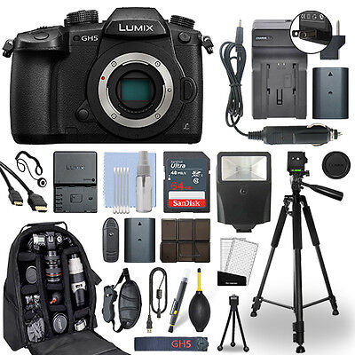 Panasonic Lumix DMC-GH5 20.3 MP 4K Digital Camera Body + 64GB Deluxe Bundle