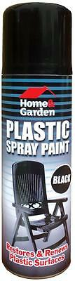 1 x 250ml Black Gloss Plastic Spray Can Garden Furniture Bike Car Bumper Paint
