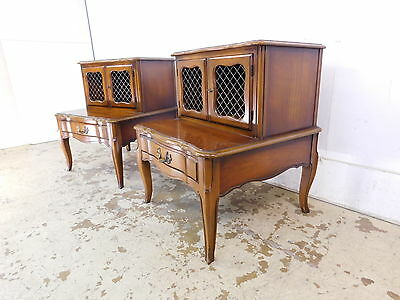 Deluxe Fruitwood 1960s Pair French Louis XV Caged Step Nightstands End Tables