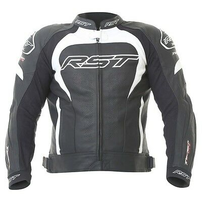 "RST Tractech Evo 1425 Leather Motorcycle Jacket Black / White 50"" Chest"