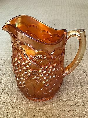 """Carnival Glass Pitcher 8"""" - Imperial Grape, Marigold - Perfect condition"""