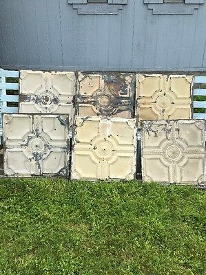 "Vintage 1800s Architectural Tin Ceiling Tiles 24"" X 24"" Lot Of 6 Pieces Crafts"
