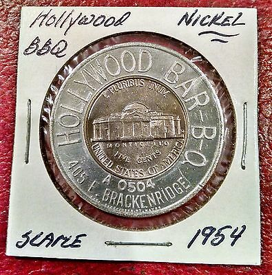 1954 Fort Wayne Indiana ~ Hollywood Bar-B-Q (Barbeque)~ Encased Jefferson Nickel