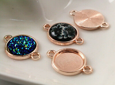 20pcs Rose Gold Plated Jewellery Findings | Fit 12mm Cabochons | Connector Bases