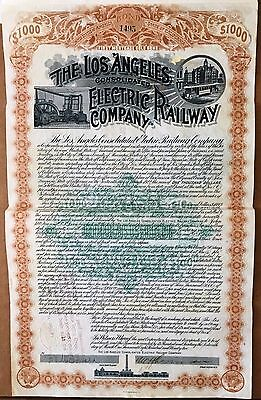 Los Angeles Cons. Electric Railway Bond,1892- Moses Sherman Signed(Sherman Oaks)