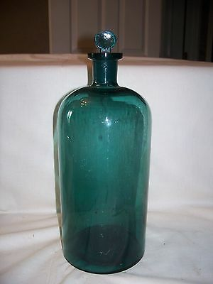 "Antique - 1800's - Blue Glass Large Apothecary Bottle - Glass Stopper - 13""h"