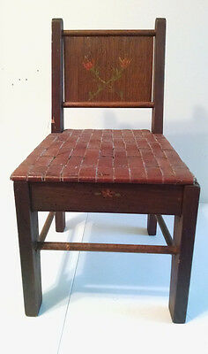 vintage hand made child's or doll's seat straight back wooden chair