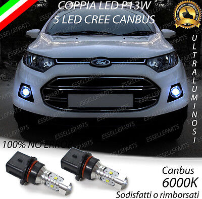 2x LAMPADE P13W 5 LED CREE DRL LUCI DIURNE FORD ECOSPORT CANBUS BIANCO