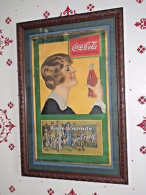 """Late 1920's Coca-Cola """"Pause a Minute  Refresh Yourself"""" paper sign"""