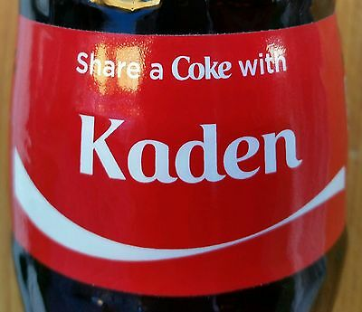 Share A Coke With Kaden Personalized 8 oz Coca Cola Collectible Glass Bottle