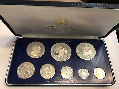 1975 Jamaica Proof Set Minted At The Franklin Mint - 8 Coins With Box And Coa