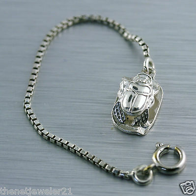 Egyptian Sterling Silver Scarab Beetle Charm on Chain Vintage Estate