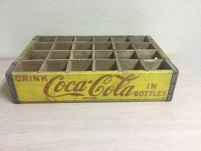 Vtg 1964 Red & Yellow Wooden Coca Cola Coke Crate Box w 24 Cubby Holes