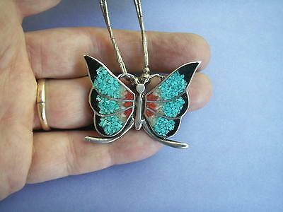 Old Vintage Navajo Native American Sterling Silver Butterfly Pendant Turquoise