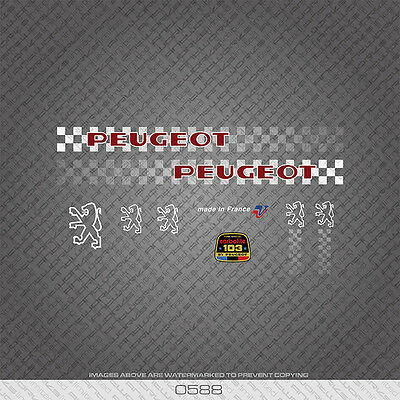 0588 Peugeot Bicycle Frame Stickers - Decals - Transfers - Red With White Key