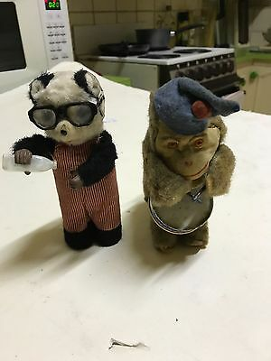 Vintage Wind Up Stuffed Toys X 2.