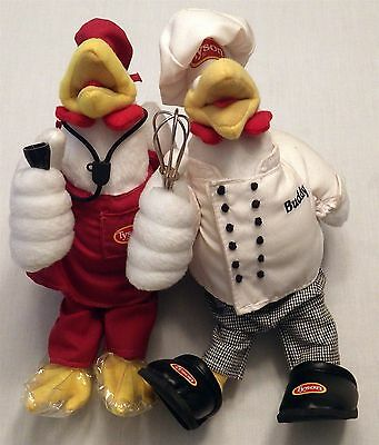Lot of 2 TYSON Foods Advertising Mascots Chicken Chef Buddy Plush Dolls