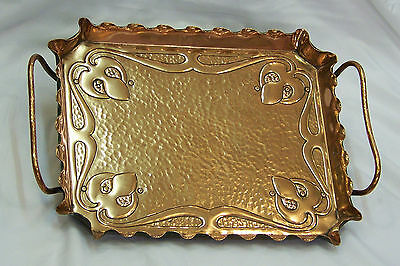 Outstanding Quality English Antique Art Nouveau Arts & Crafts Copper Drinks Tray