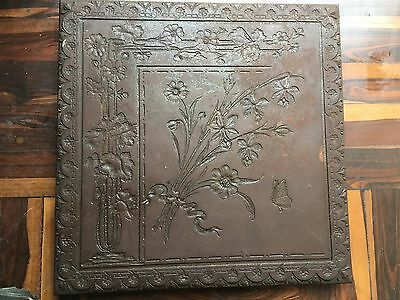 Antique Victorian Cast Iron Fireplace Cover Flowers&butterfly Marked Schutz 0344