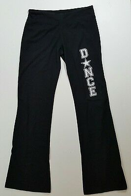 Bella Girls DANCE Cotton Spandex Yoga Pilates Black Workout Pants Sz Large