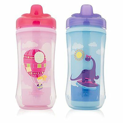 Dr. Brown's Hard-Spout Insulated Cup, Balloon and Dino Pink/Purple, 10oz (12m+),
