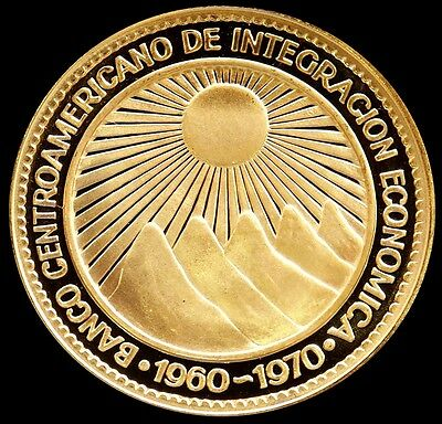 1970 Gold Central America Republic 50 Pesos Gem Proof Condition Cachet & Coa