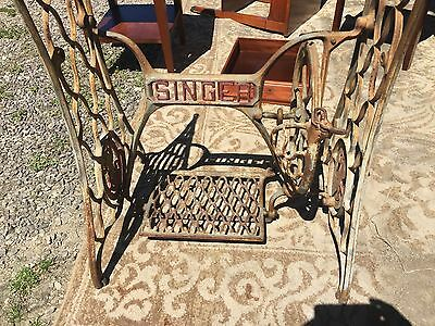 Singer sewing machine stand , working treadle, butcher block top  !!!!!