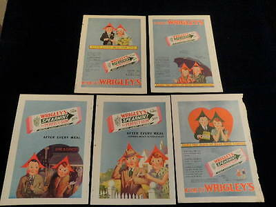Vintage Wrigley's Gum ad 5pc Lot Spearmint Color Advertisement Mint Leaf  Q103