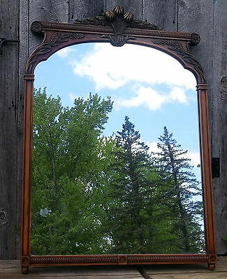 XLNT Antique Art Nouveau Carved Wooden Walnut? Wall Hall Mirror w/ Gold Accents