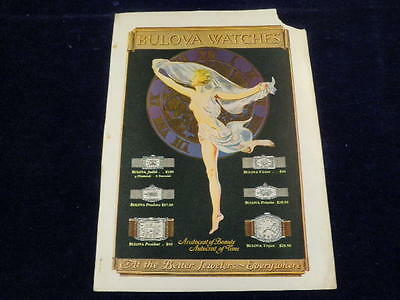 1926 Original Vintage Bulova Watch Co Nude Lady & Art Deco Watches Print Ad Q103