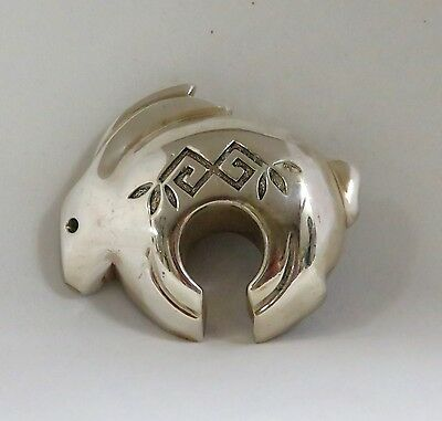 Native American / Southwest Sterling Silver Rabbit Bolo Clasp By Silver Cloud