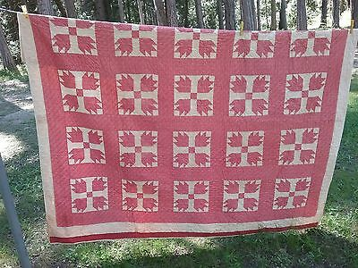 Antique Quilt primitive hand stitched patchwork feed sack Honolulu Hawaii 1880s