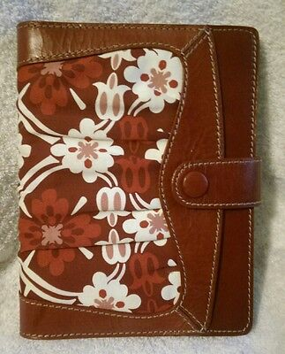 Fossil Red Floral Distressed Leather & Fabric Holiday Journal Notebook Planner