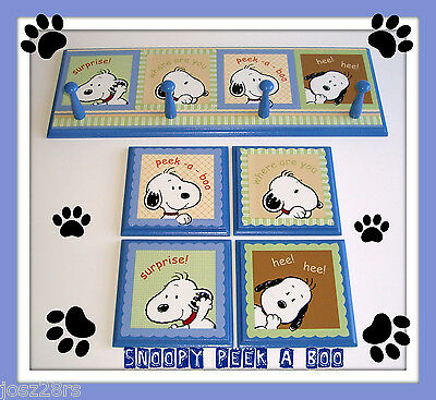 SNOOPY PEEK A BOO  RACK & PLAQUES  m/ LAMBS & IVY blue