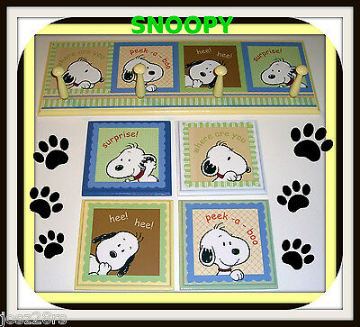SNOOPY PEEK A BOO  RACK PLAQUES nursery wall decor baby  m/ LAMBS & IVY